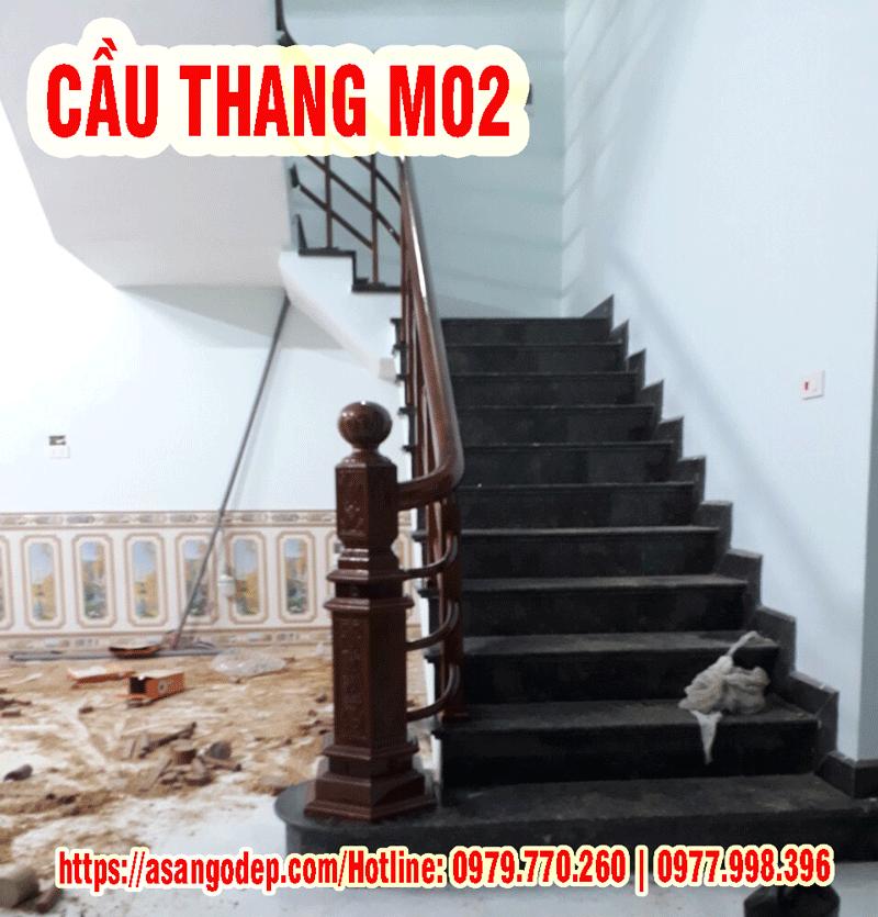 Cầu thang gỗ tự nhiên M02