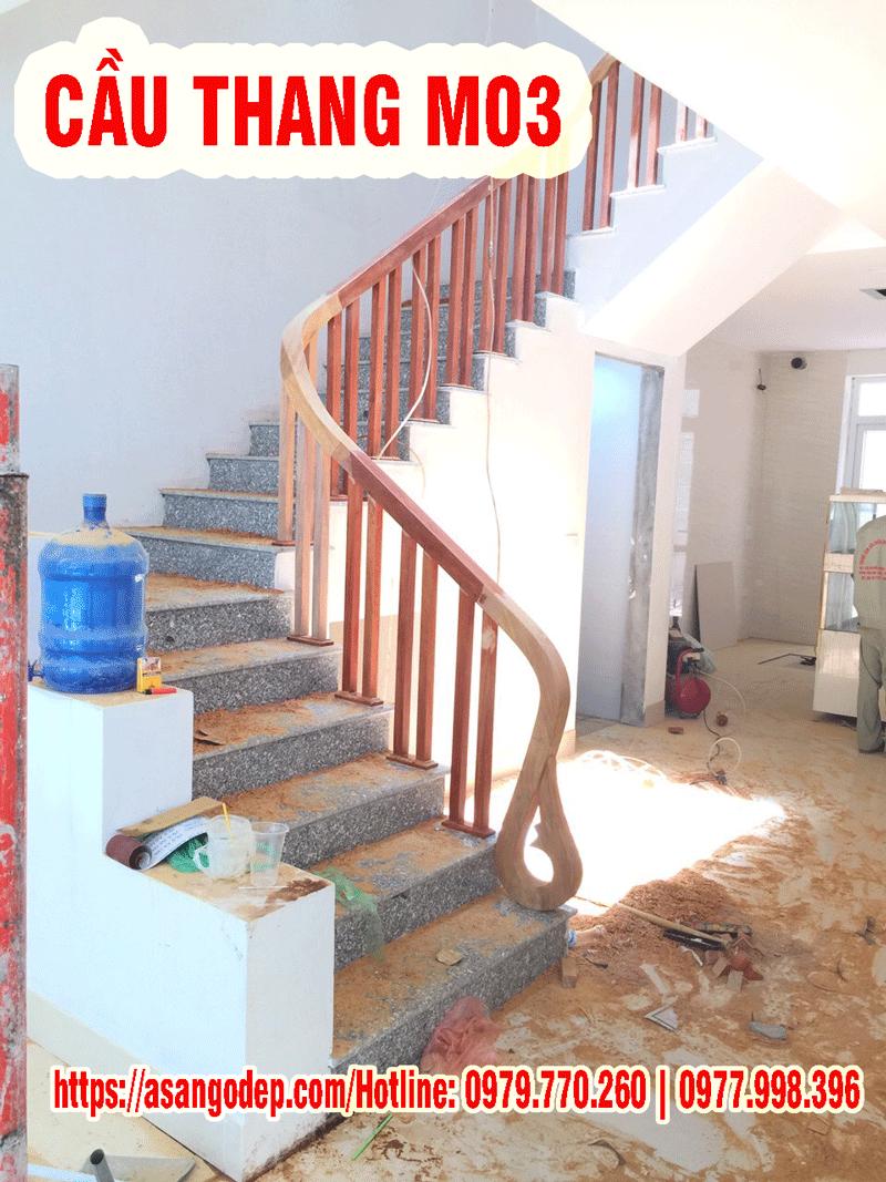 Cầu thang gỗ tự nhiên M03