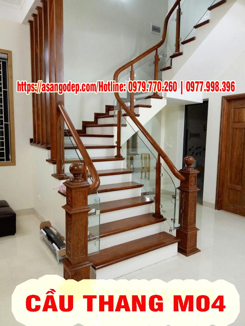 Cầu thang gỗ tự nhiên M04