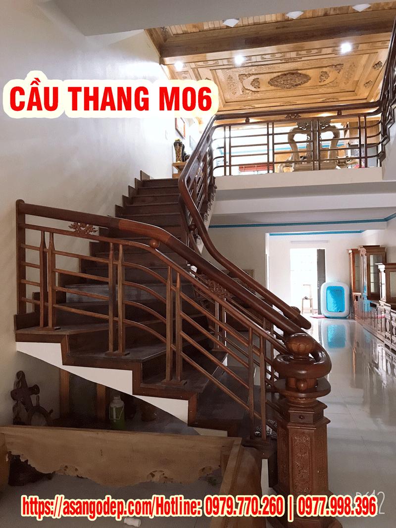 Cầu thang gỗ tự nhiên M06