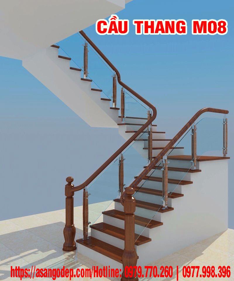 Cầu thang gỗ tự nhiên M08
