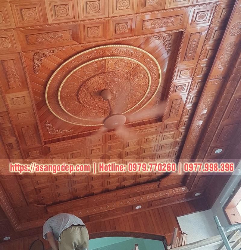 Trần gỗ tự nhiên phòng khách gỗ  gõ đỏ