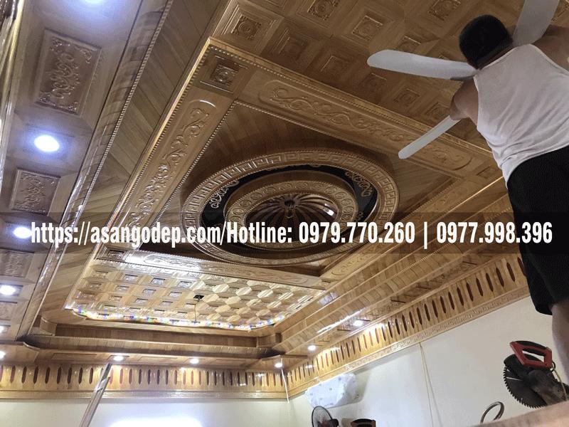 Mẫu trần gỗ Pơmu đẹp 2021
