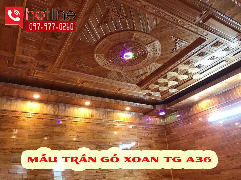 Mẫu trần gỗ xoan đơn giản 2021