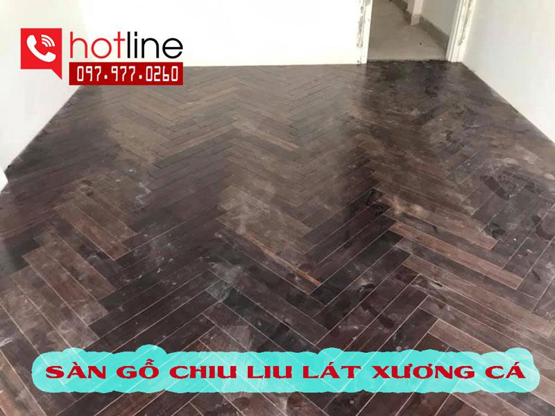 Sàn gỗ tự nhiên chiu liu lào lát xương cá