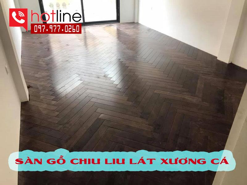 Sàn gỗ Chiu liu lào lát xương cá đẹp