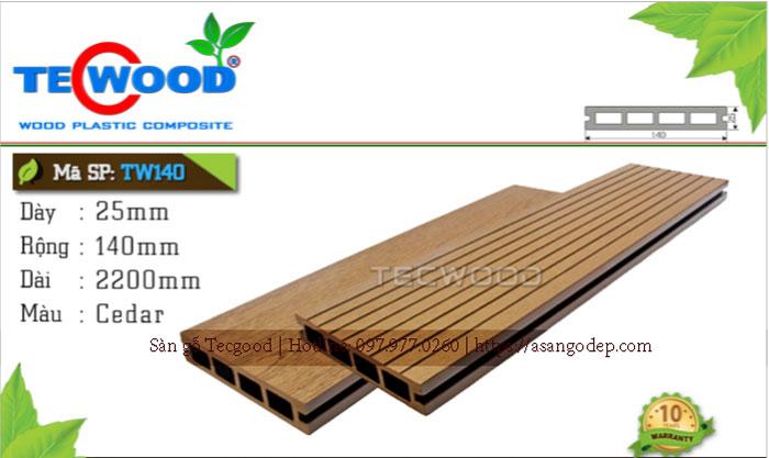Sàn gỗ Tecwood TW 140 lỗ vuông