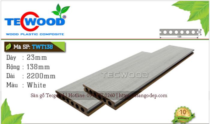 Sàn gỗ ngoài trời Tecwood TWT 138 White