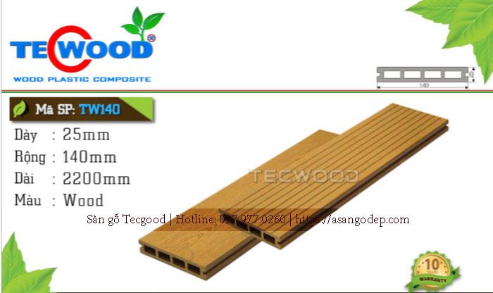 Sàn gỗ ngoài trời Tecwood TW 140 Wood