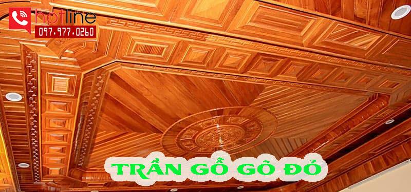 Trần gỗ tự nhiên gõ đỏ đẹp