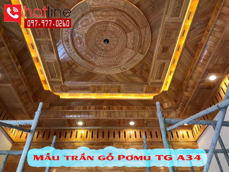 Mẫu trần gỗ pơmu đẹp TG A34
