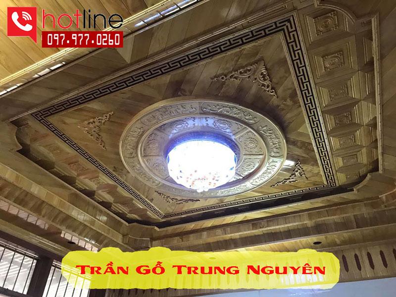 Thi công trần gỗ Pơmu tại Hà Nội