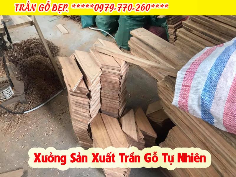 Xưởng sản xuất trần gỗ tự nhiên Pơ Mu phòng khách